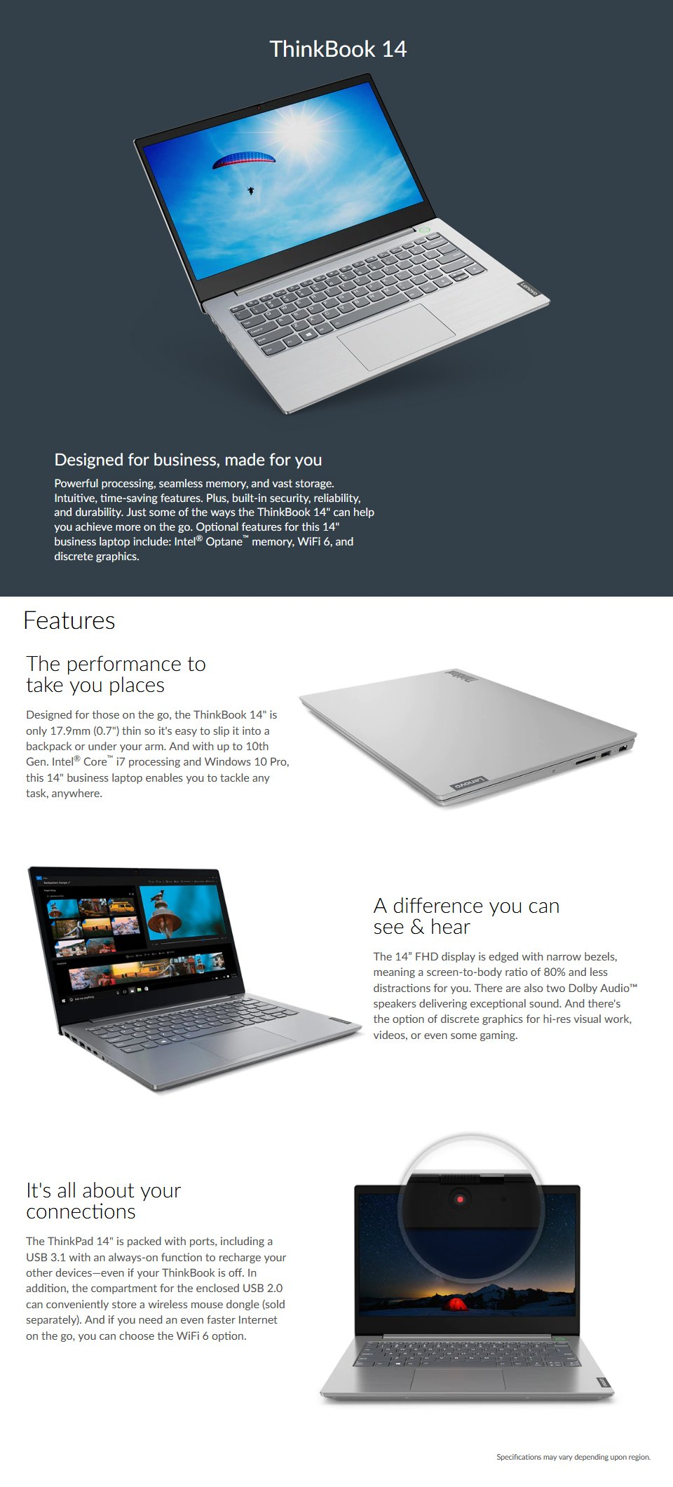 Lenovo ThinkBook Core i7 IPS 14in Business Laptop features
