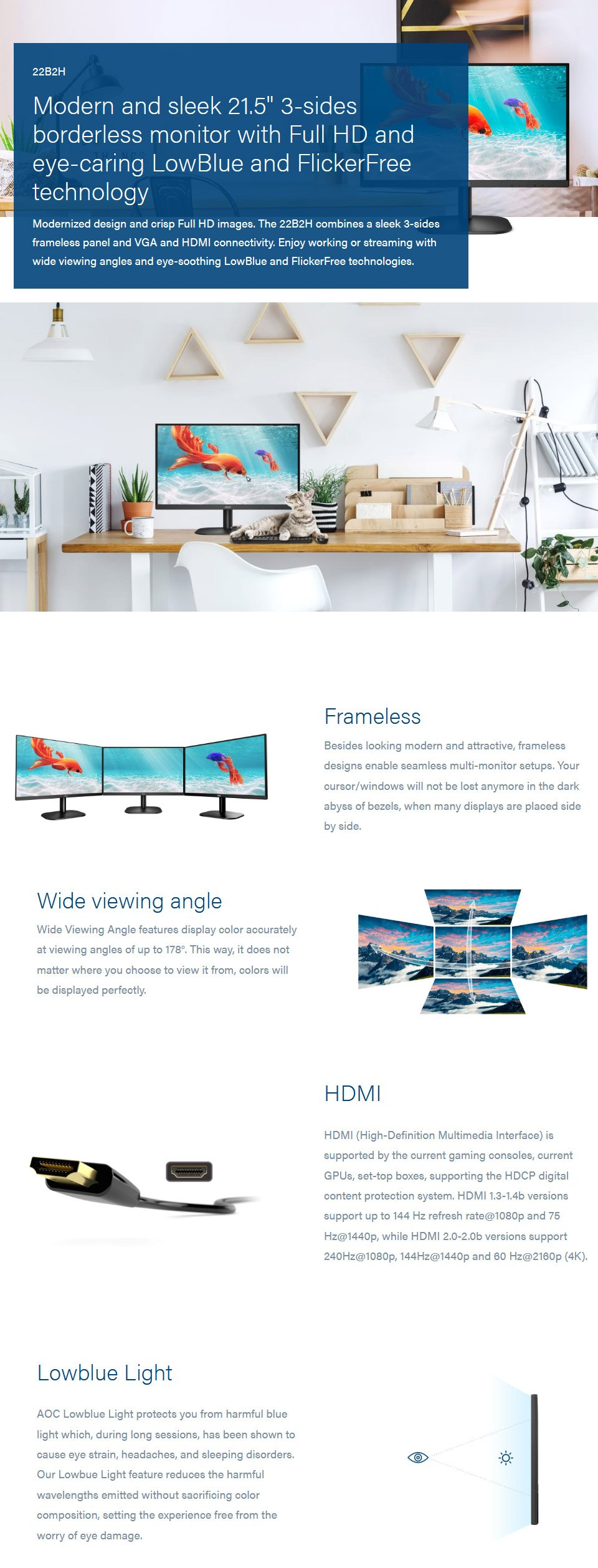 AOC 22B2H FHD 75Hz IPS 21.5in Monitor features