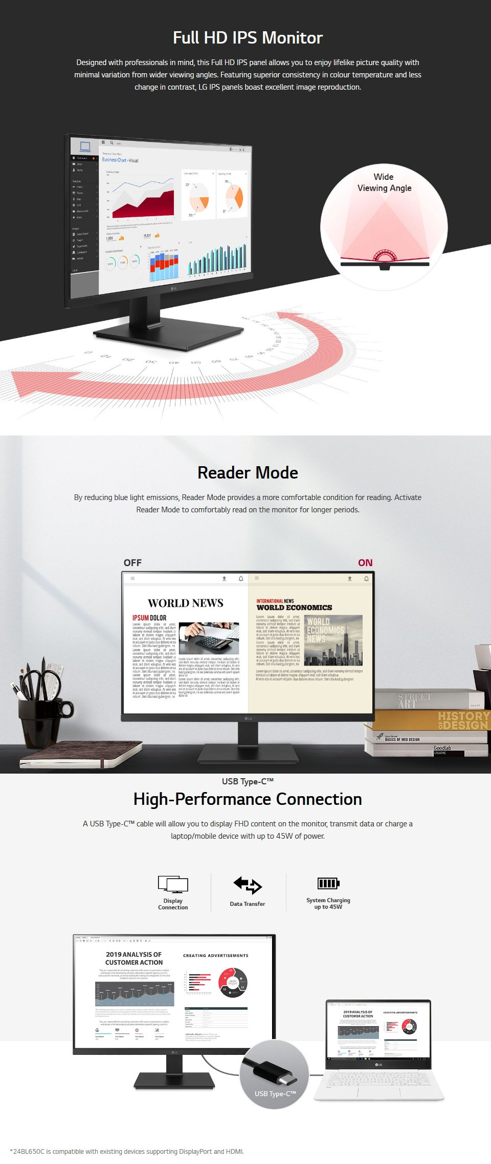 LG 24BL650C-B FHD IPS USB-C 24in Monitor features