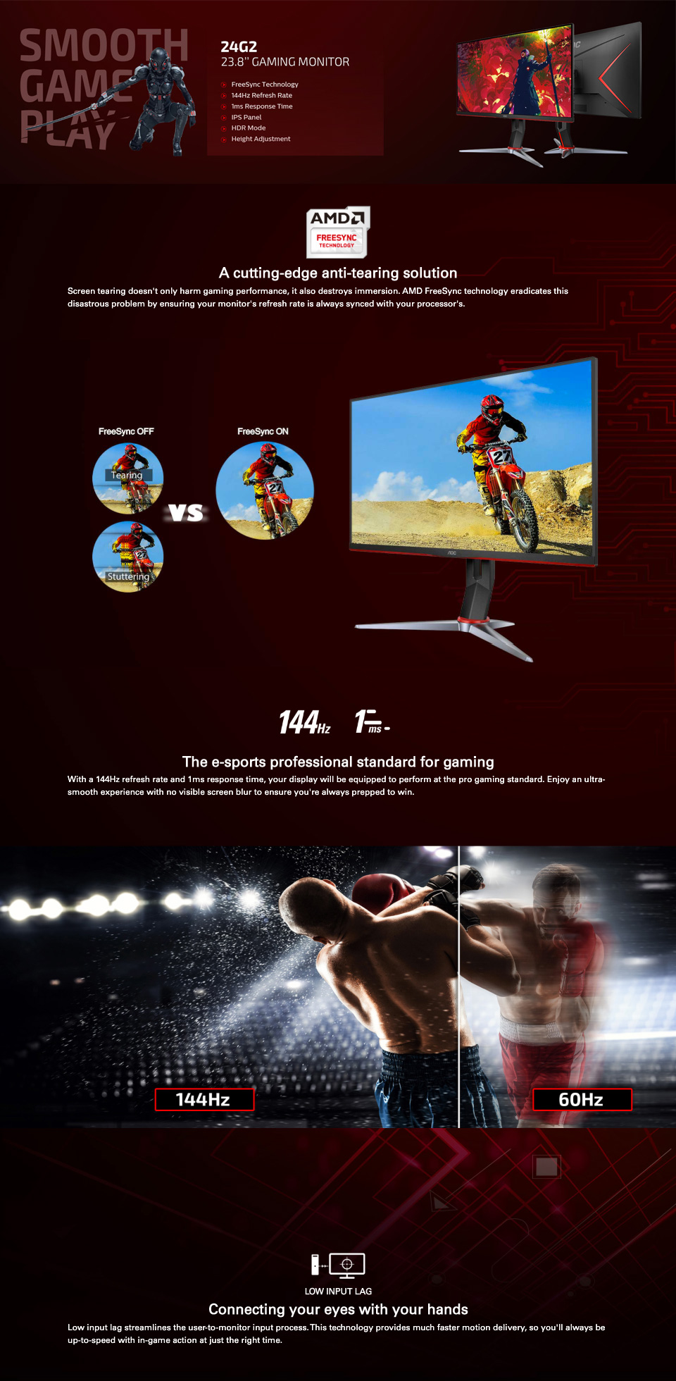 AOC 24G2 FHD 144hz FreeSync HDR IPS 23.8in Monitor features