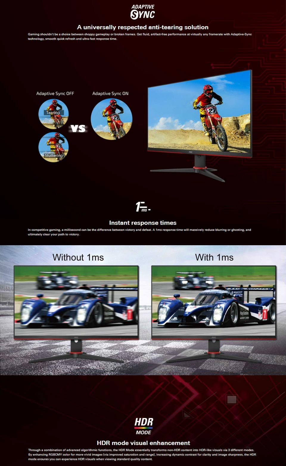 AOC 24G2E5 FHD Adaptive-Sync HDR IPS 23.8in Monitor features