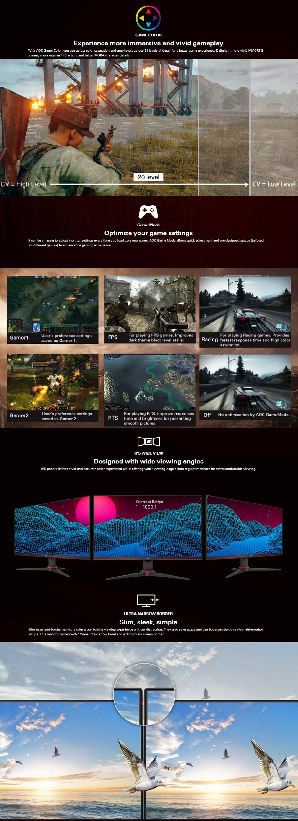 AOC 24G2E5 FHD Adaptive-Sync HDR IPS 23.8in Monitor features 3