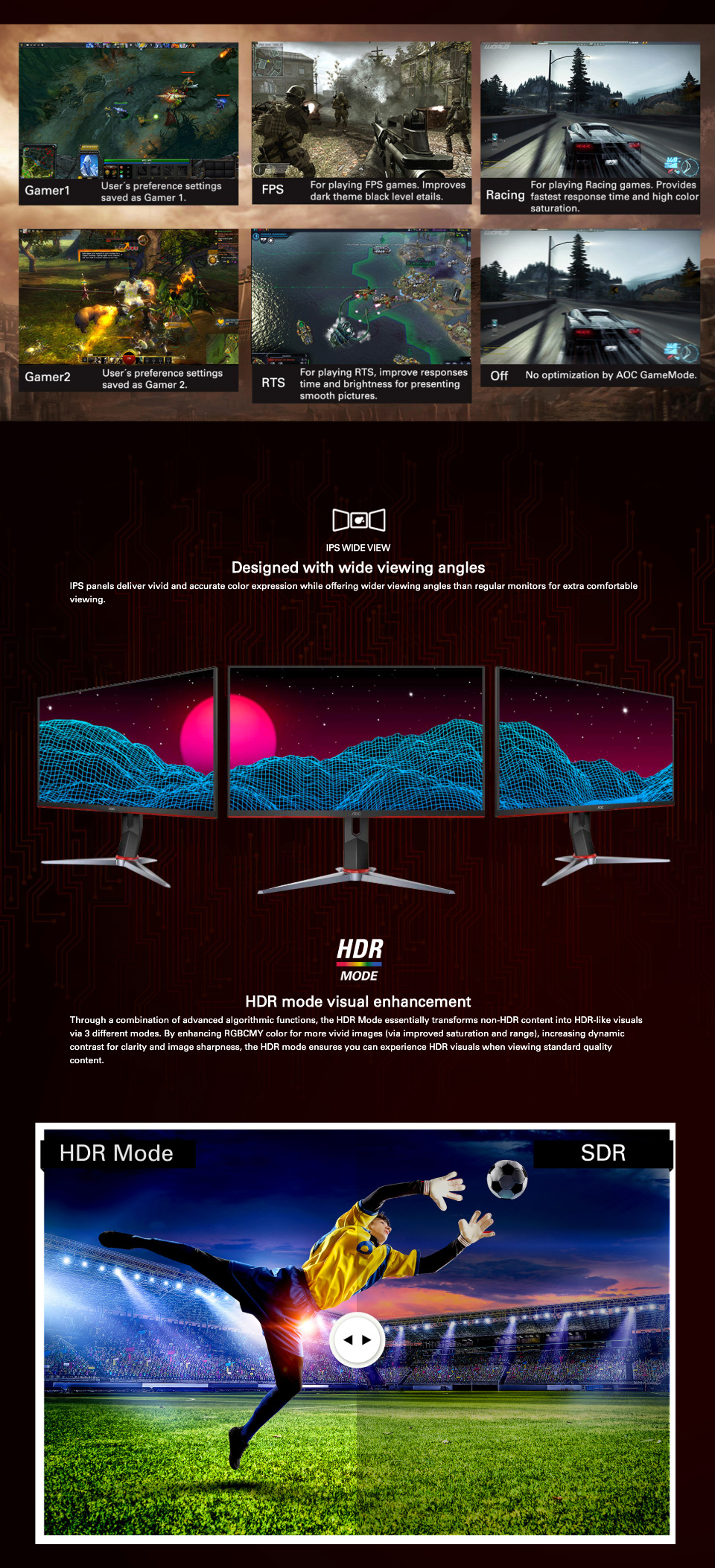 AOC 27G2 HDR 144hz G-Sync IPS 27in Monitor features 3
