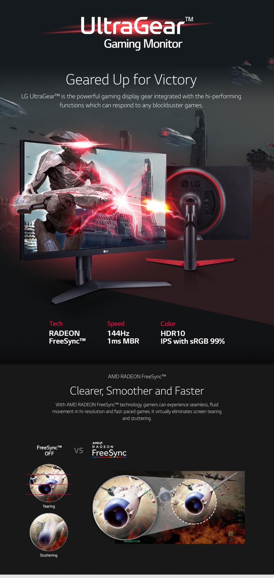 מסך גיימינג LG UltraGear 27GL650 FHD 144Hz FreeSync HDR IPS 27in Monitor