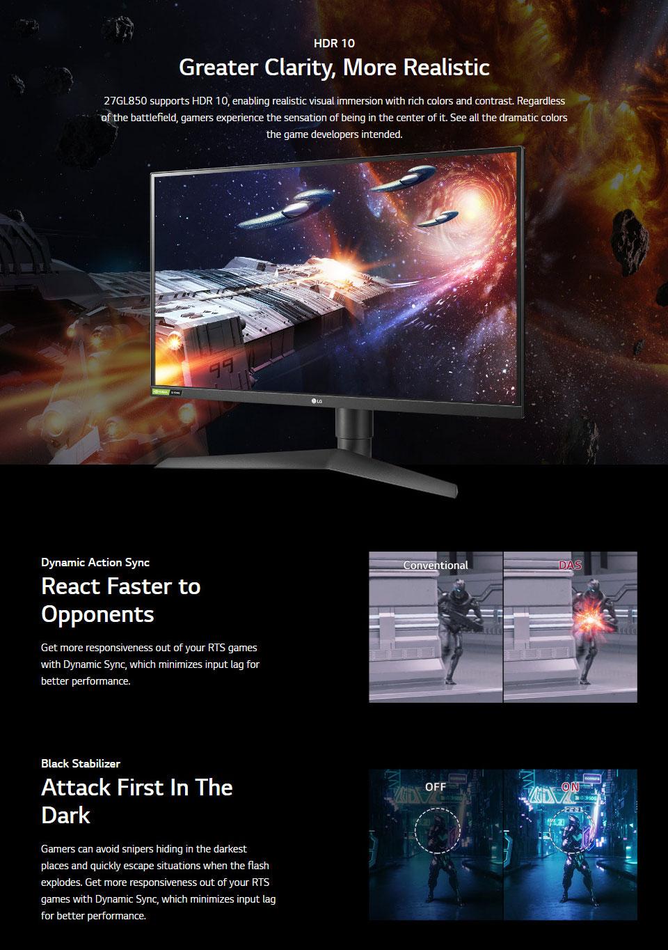 LG UltraGear 27GL850 QHD 144Hz G-Sync HDR IPS 27in Monitor