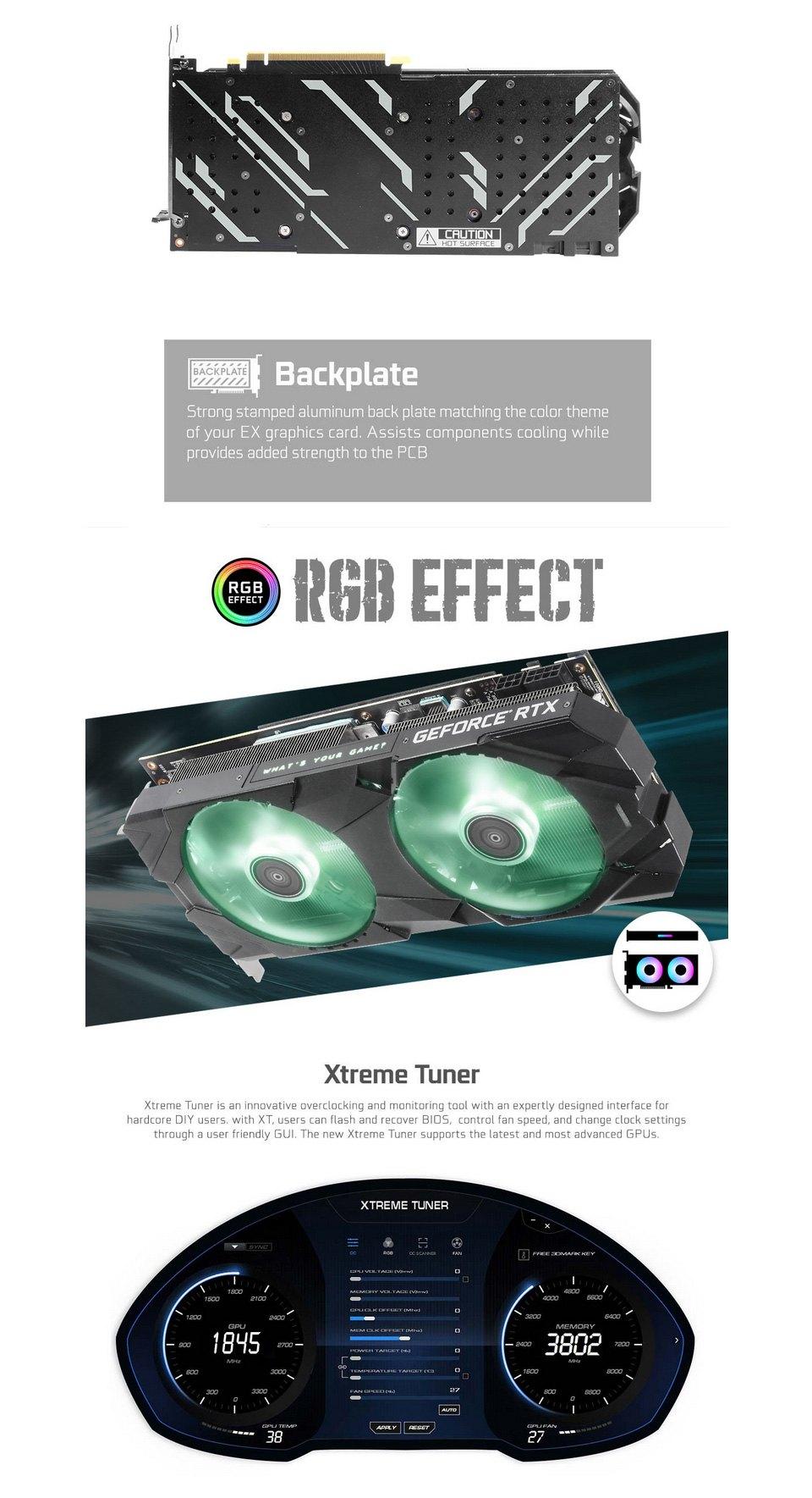 Galax GeForce RTX 2080 Super EX (1-Click OC) 8GB features 2