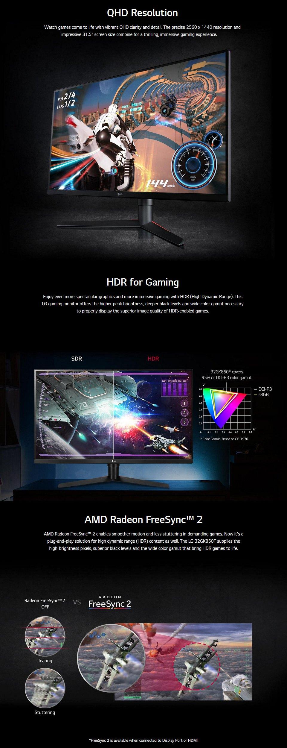 LG UltraGear 144Hz QHD 32in Monitor features