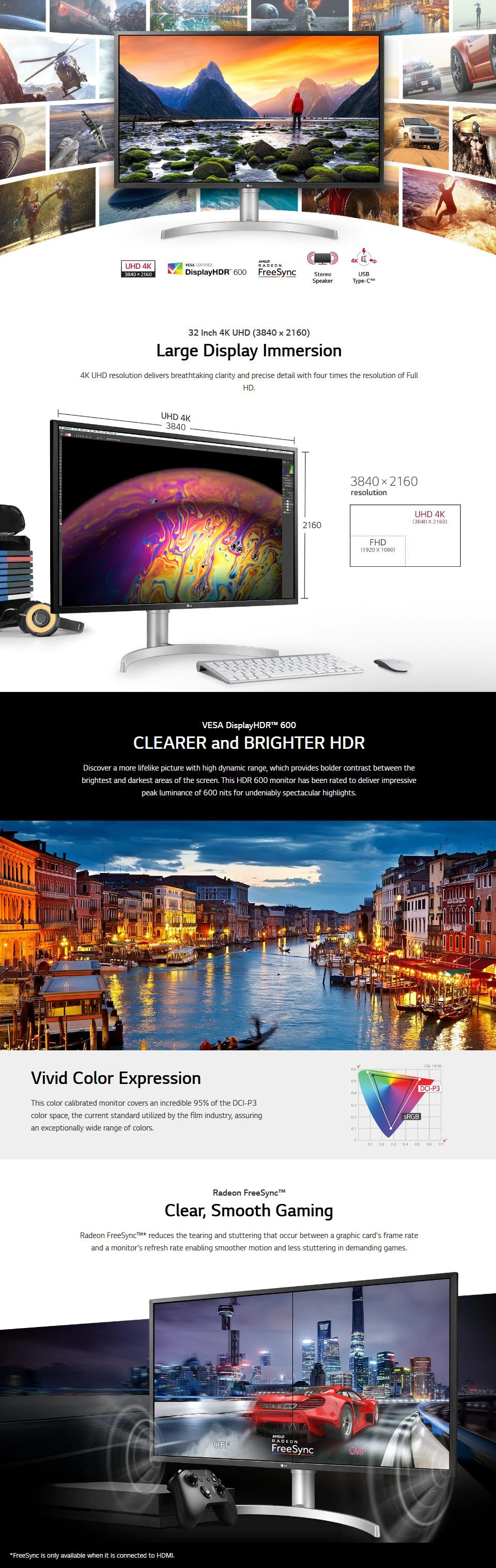 LG 32UL750-W UHD FreeSync HDR 32in Monitor with USB-C features