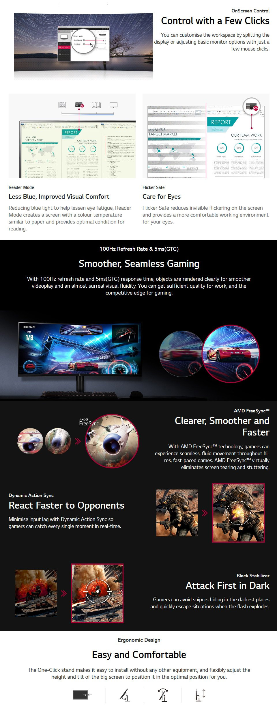 LG 35WN75C-B UWQHD 100Hz FreeSync HDR Curved 35in Monitor features 2
