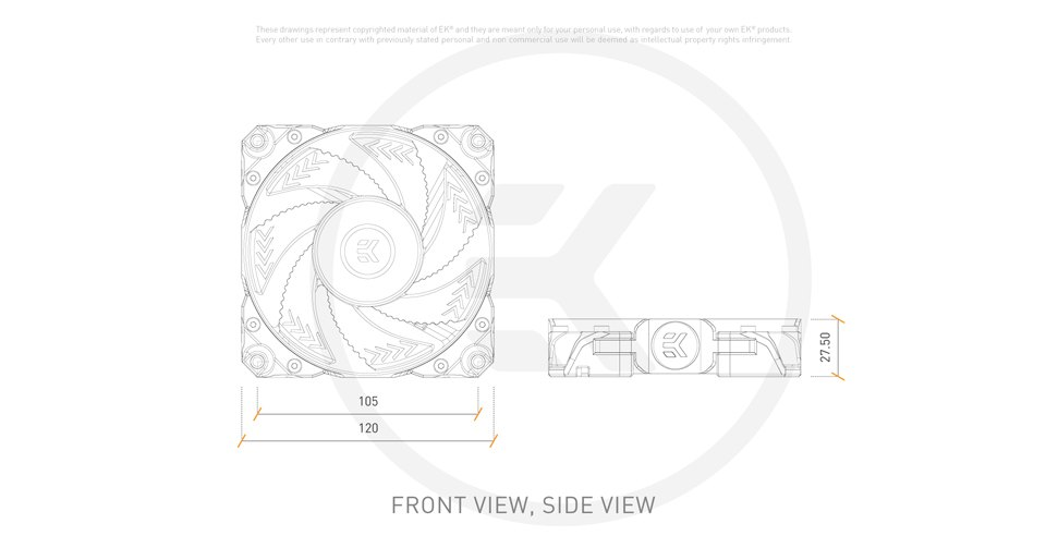 EK Vardar X3M 120ER D-RGB white 120mm fan features 2
