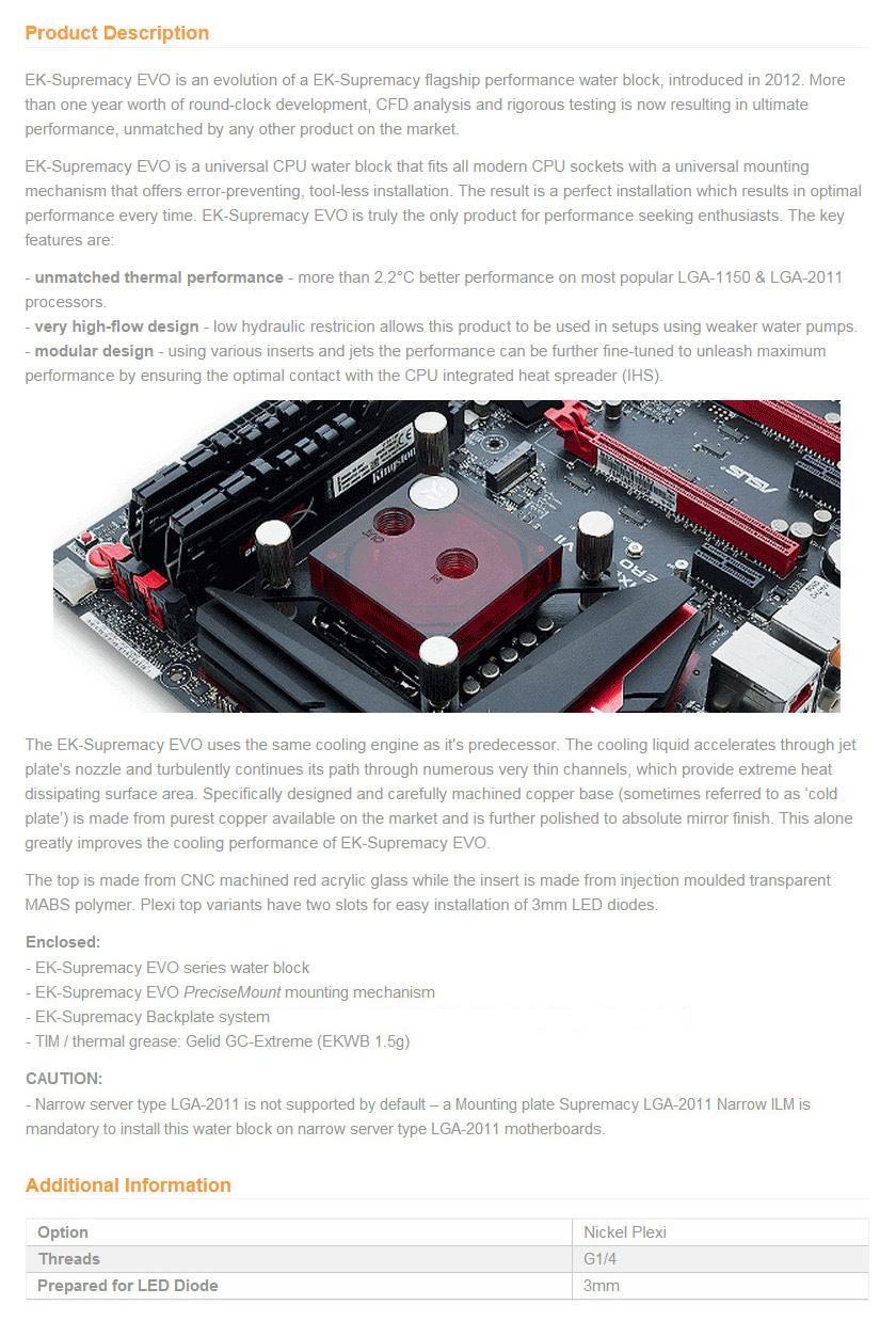EK Supremacy EVO CPU Waterblock Red Edition [3831109800089