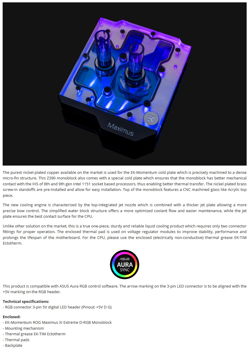 EK Momentum ROG Maximus XI Extreme D-RGB Plexi