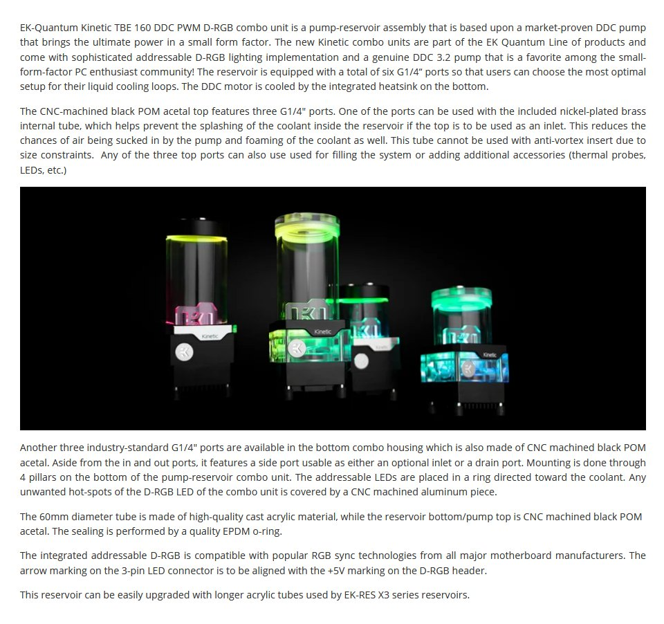 EK Quantum Kinetic TBE 160 DDC PWM D-RGB Reservoir Pump Acetal features