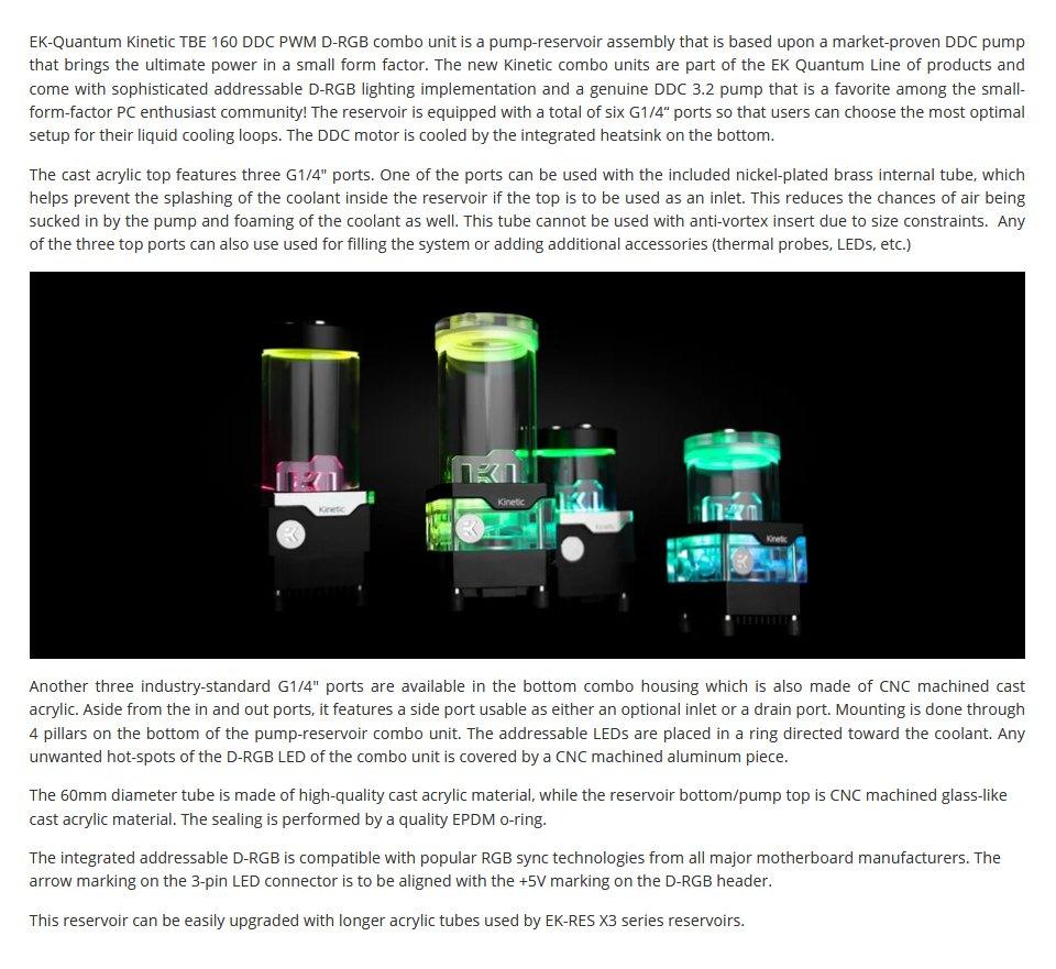 EK Quantum Kinetic TBE 160 DDC PWM D-RGB Reservoir Pump Plexi features