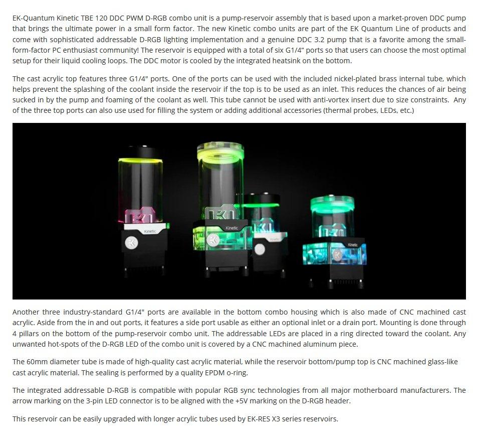EK Quantum Kinetic TBE 120 DDC PWM D-RGB Reservoir Pump Plexi features
