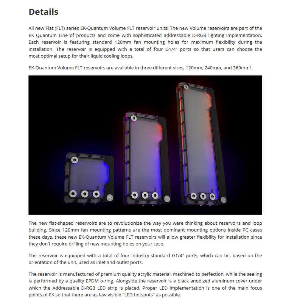 EK Quantum Volume FLT 120 D-RGB Reservoir Plexi features