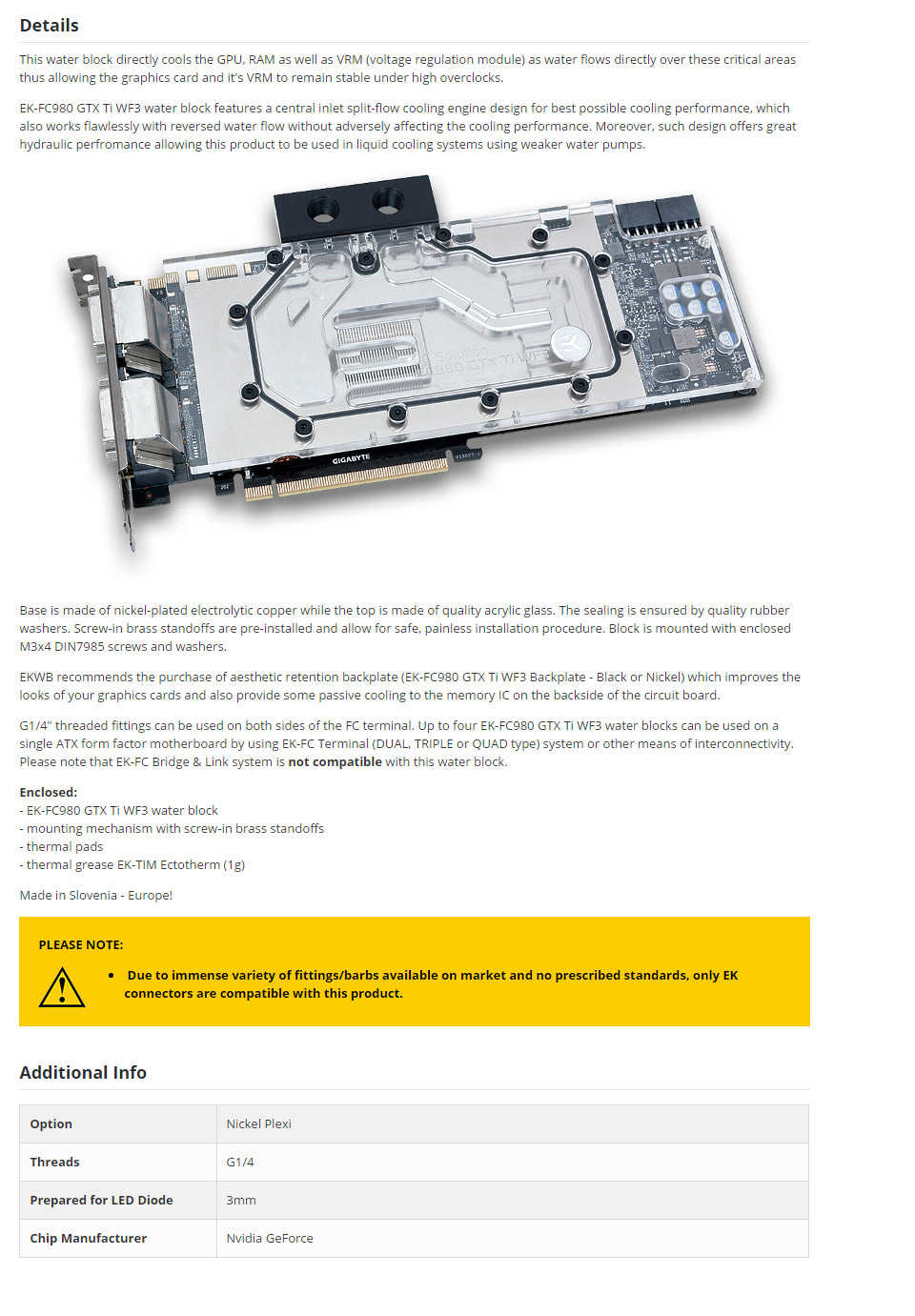 Ek Full Cover Vga Block Fc980 Gtx Ti Wf3 Nickel 3831109830918 Circuit Diagram Furthermore Basic Hydraulic Schematic In It Will Allow The Graphics Card To Remain Stable Under High Overclocking And Demanding Settings While Providing Passive Cooling For Backside Of