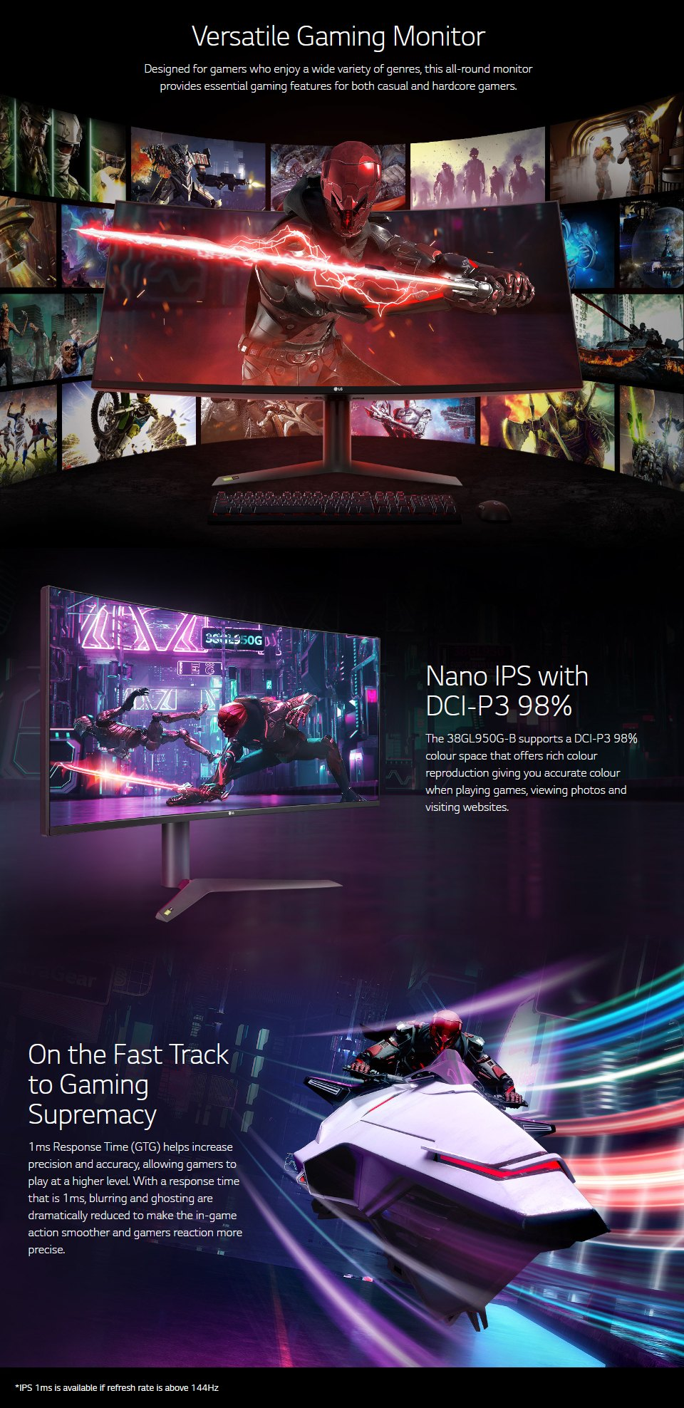LG 38GL950G-B QHD+ 144Hz G-Sync HDR 38in Monitor features 2