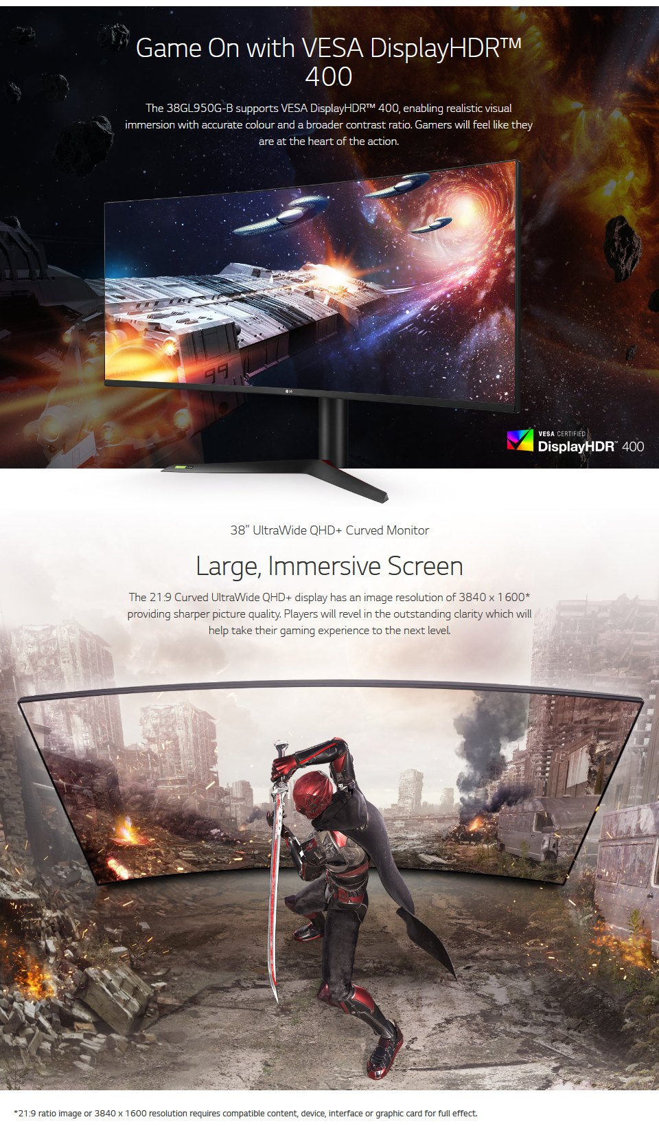 LG 38GL950G-B QHD+ 144Hz G-Sync HDR 38in Monitor features 4