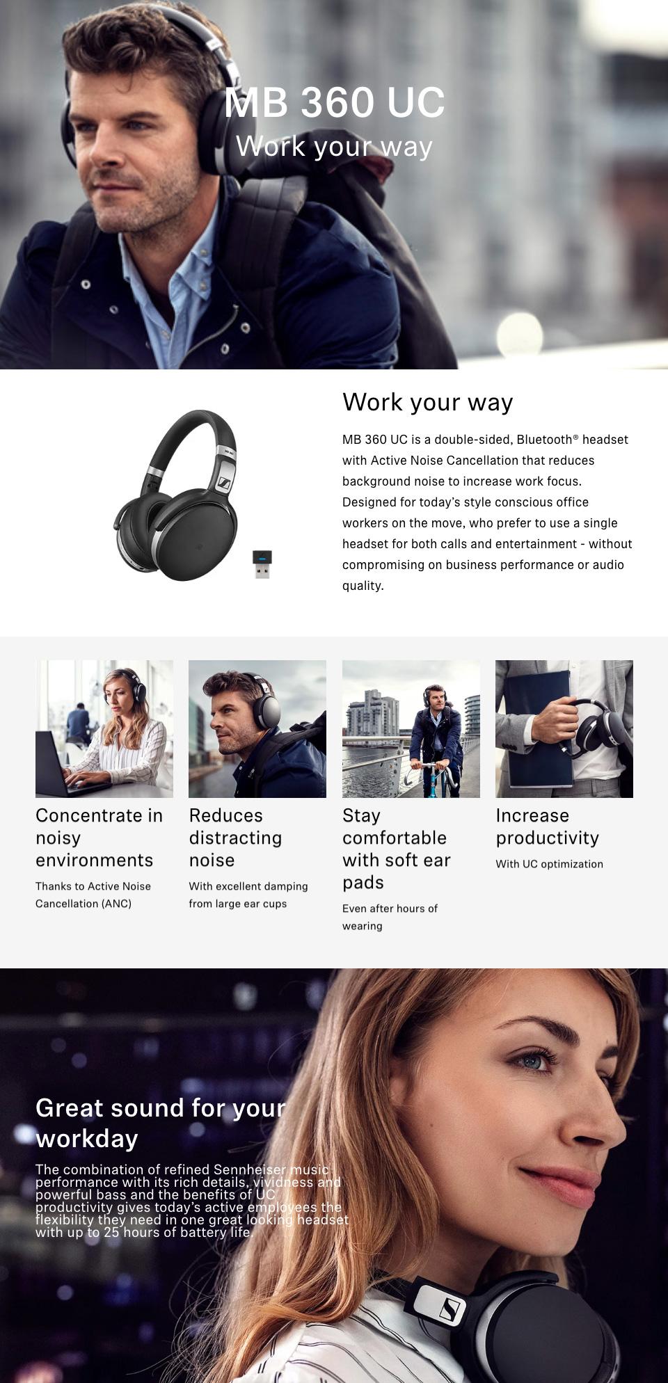 Sennheiser MB 360 UC Bluetooth Headset features