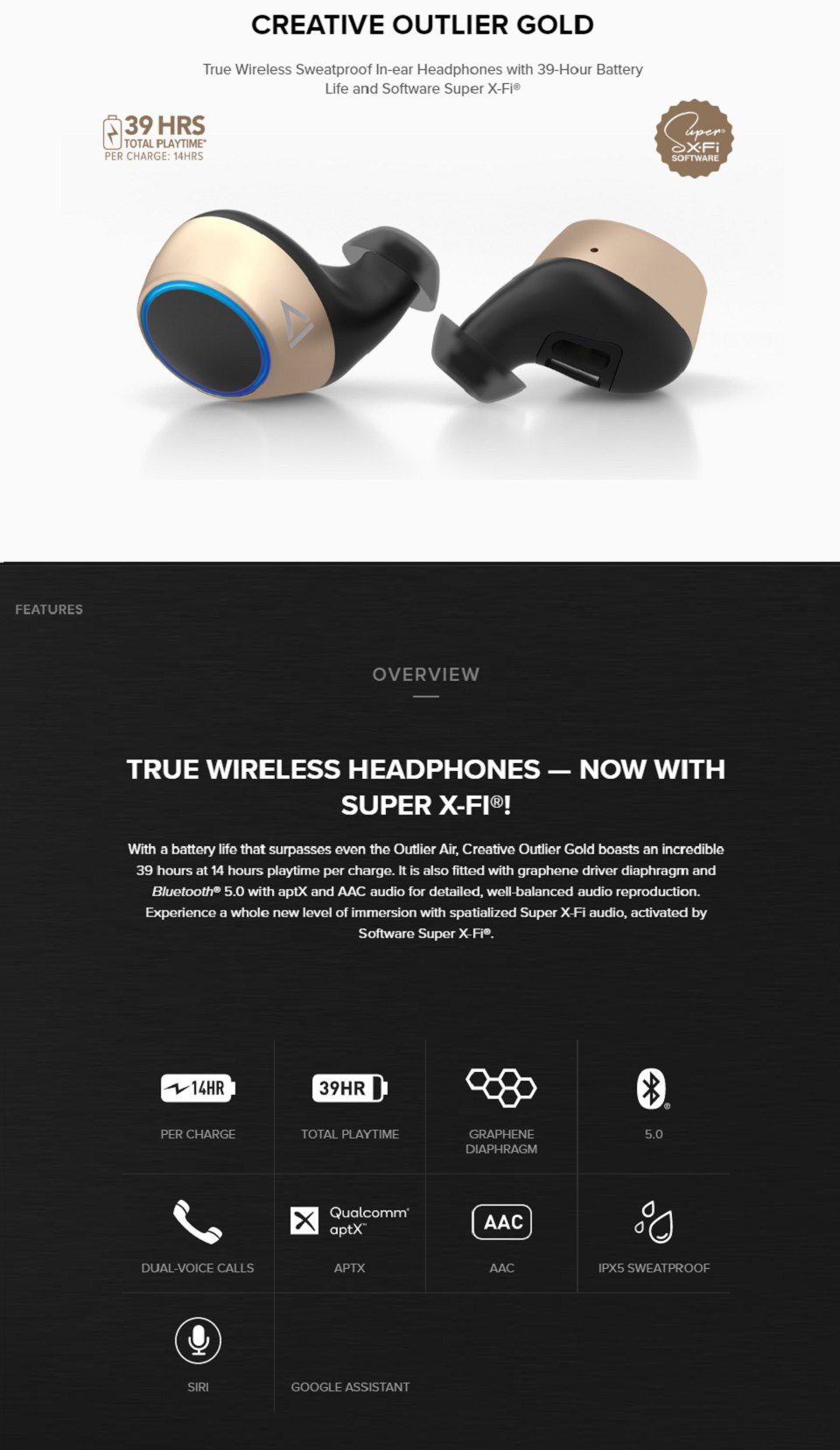 Creative Outlier Gold True Wireless In-Ear Headphones features