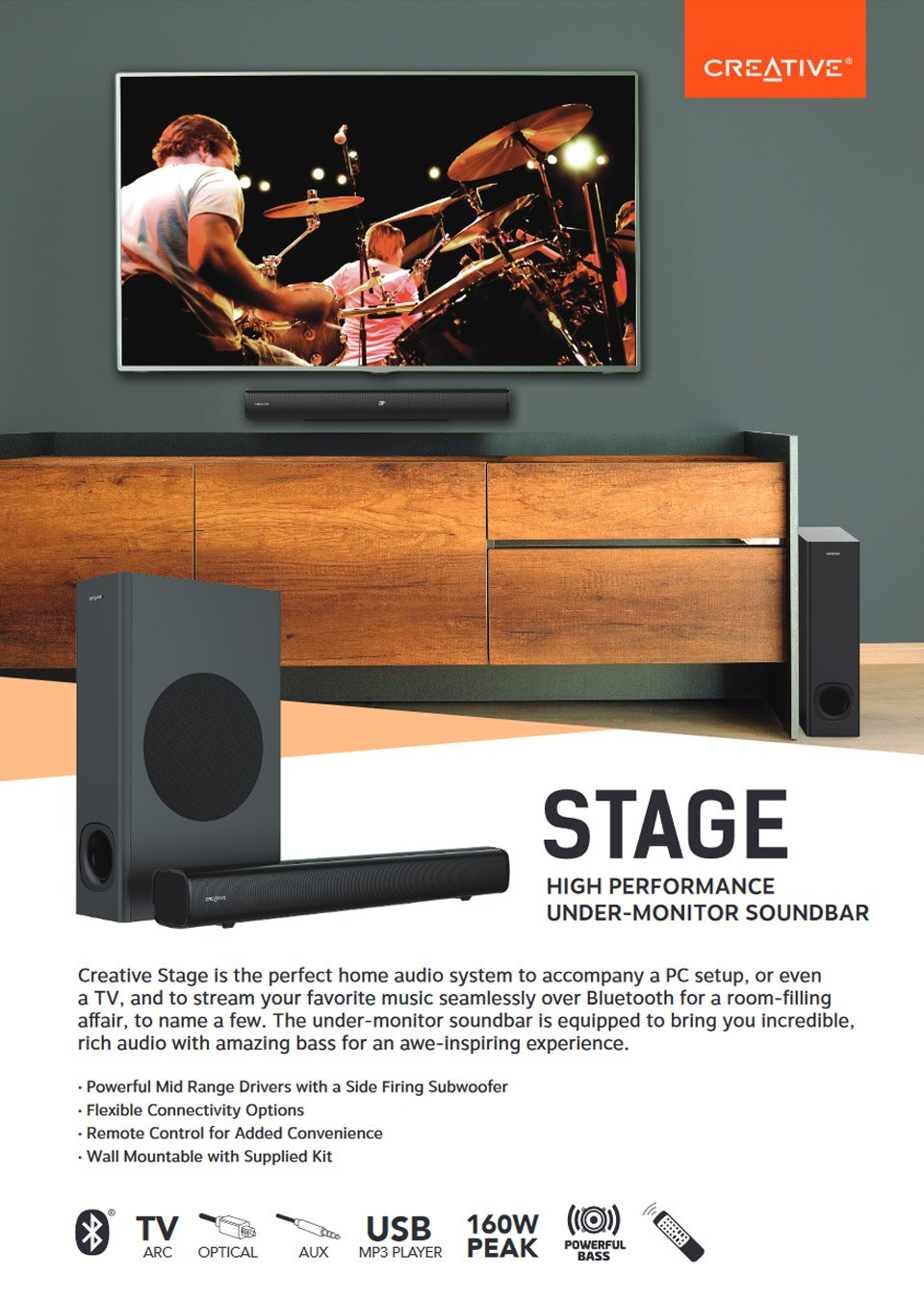 Creative Stage 2.1 Under Monitor Soundbar features