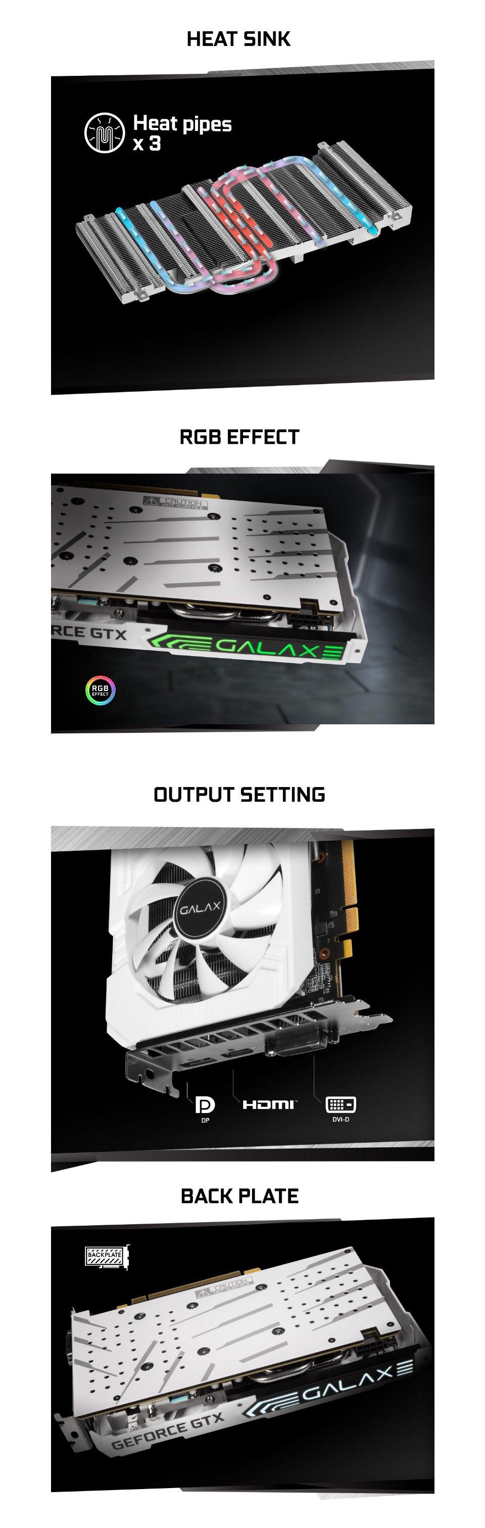 Galax GeForce GTX 1660 Super EX OC 6GB White features 2