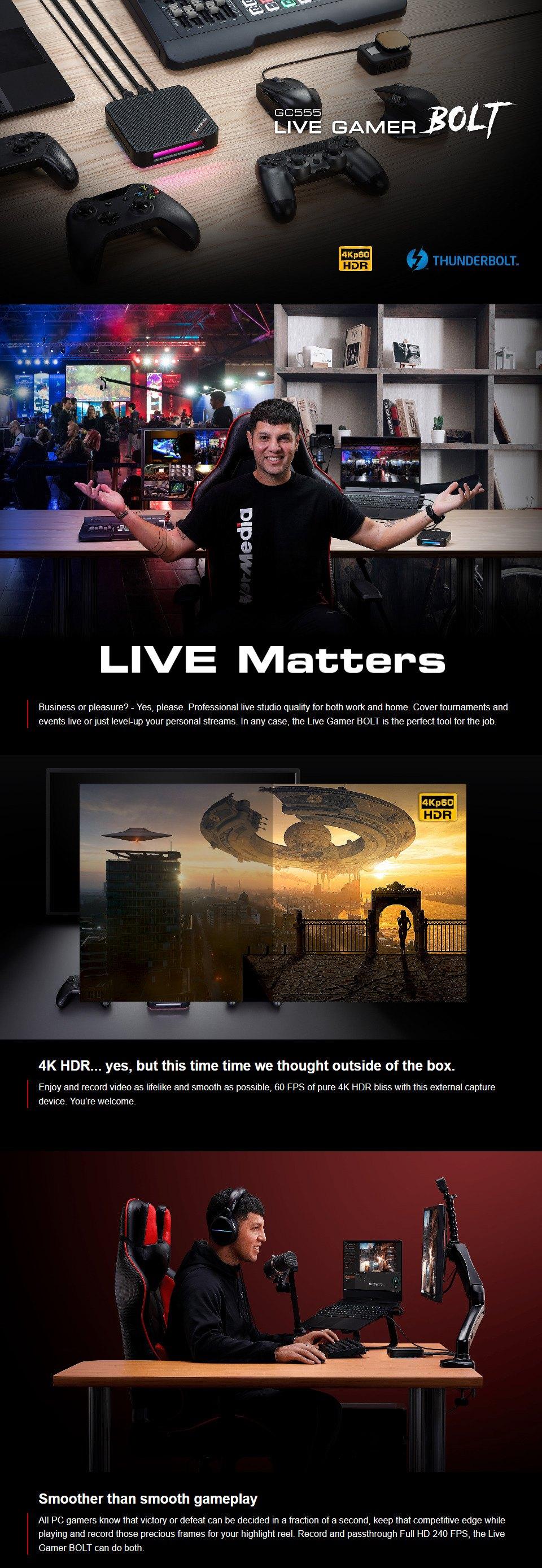 AVerMedia GC555 Live Gamer BOLT TB3 Capture Card features