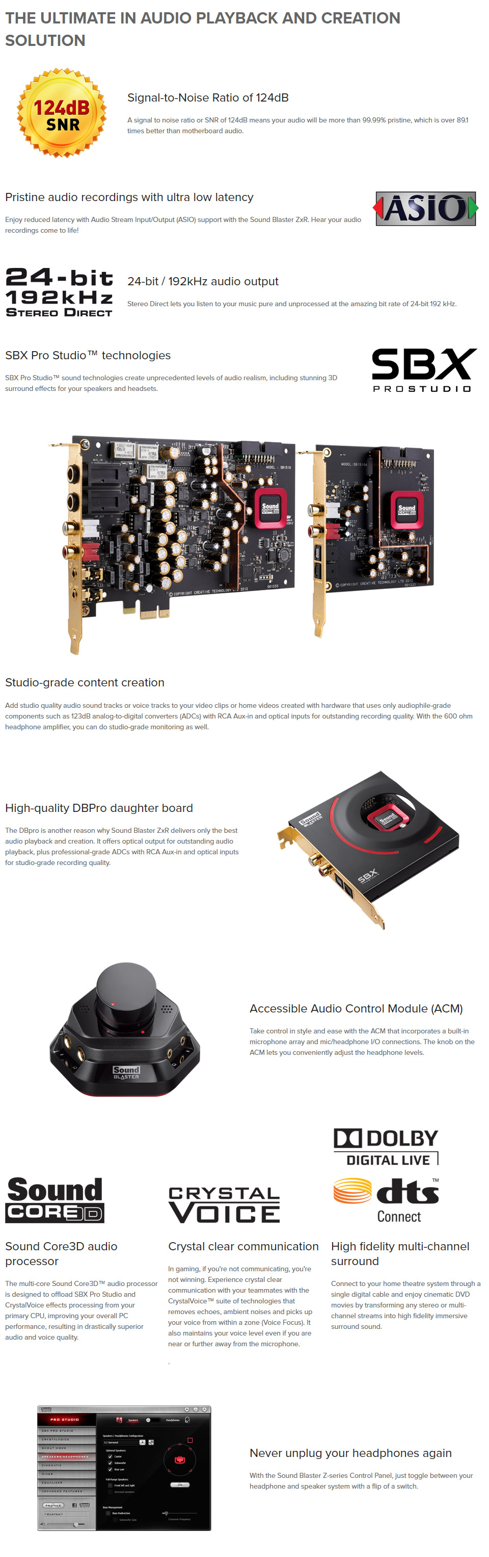 Creative Sound Blaster ZXR Soundcard with Audio Control Module