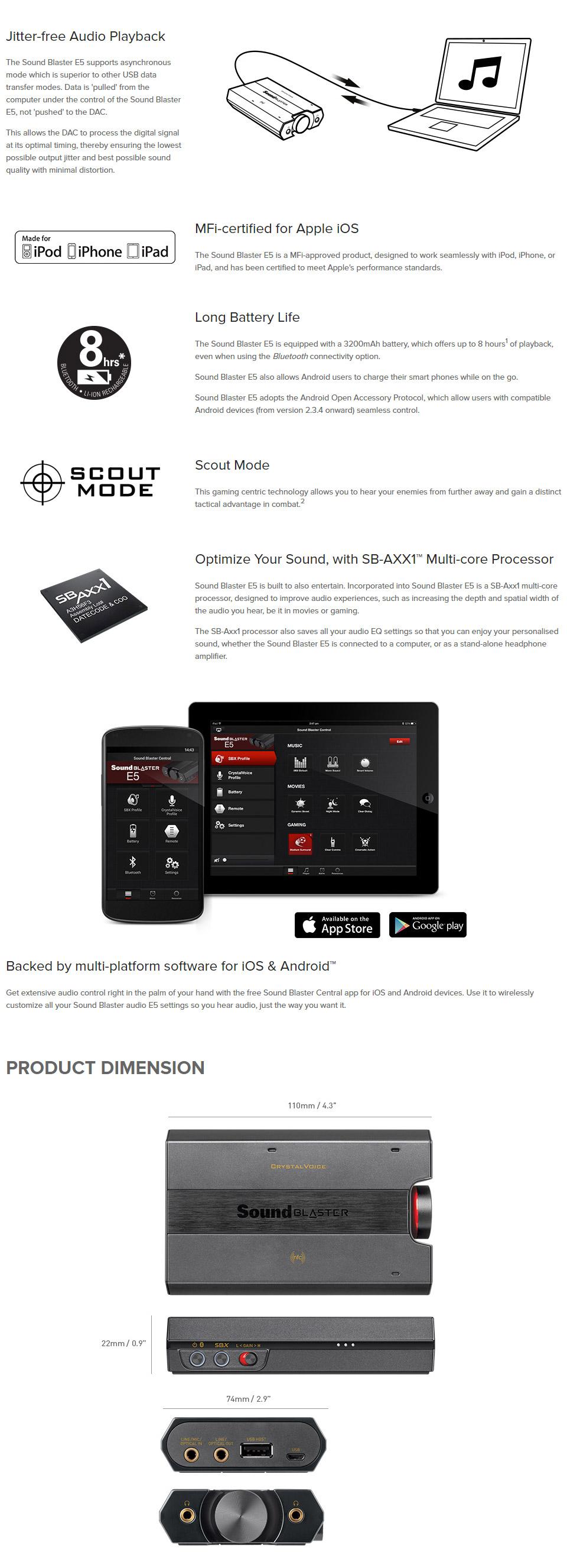 Creative Sound Blaster E5 Portable Headphone Amp