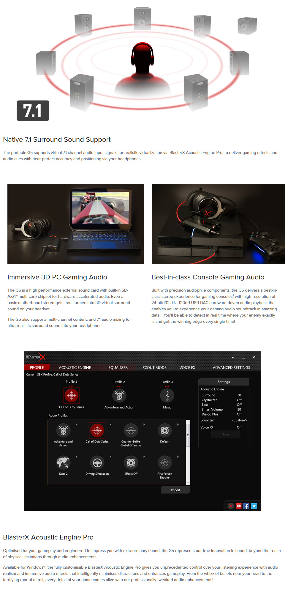 Creative Sound Blaster G5 7 1 HD Headphone Amp