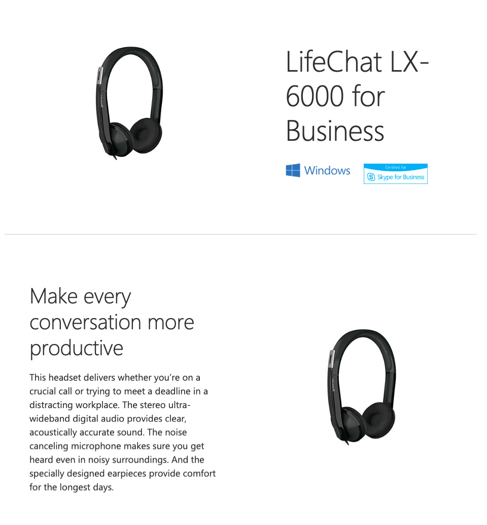 Microsoft LifeChat LX-6000 Headset features