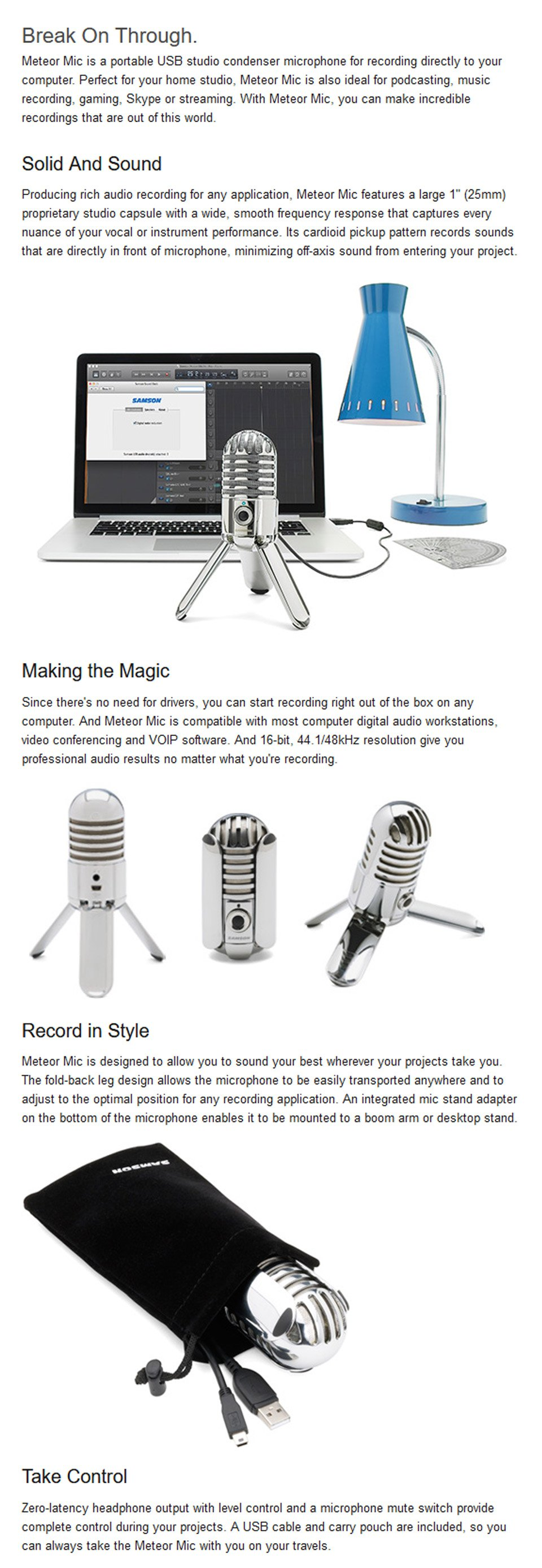 Samson Meteor USB Studio Condenser Microphone features