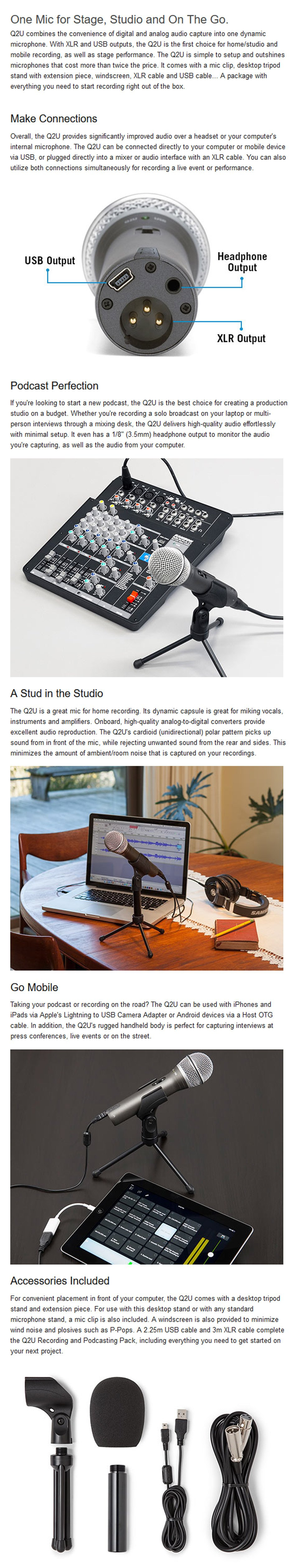 Samson Q2U USB/XLR Dynamic Microphone features