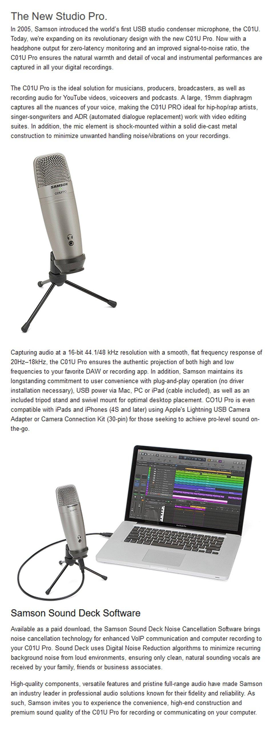 Samson C01U Pro USB Studio Condenser Microphone features