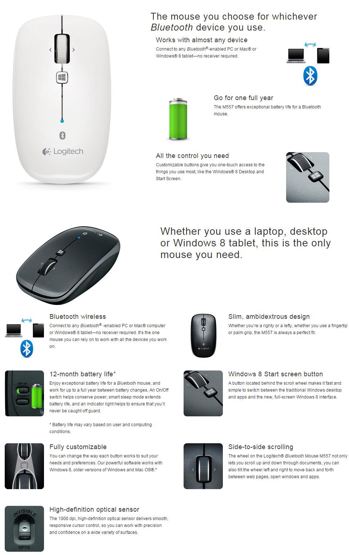 Logitech M557 Bluetooth Mouse White [910-003961] : PC Case Gear