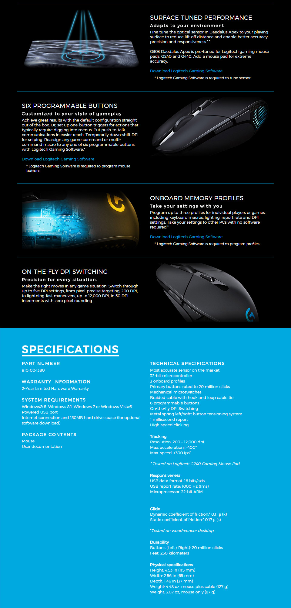 2d28a909cf1 Logitech G303 Daedalus Apex Optical Gaming Mouse [910-004384] : PC ...
