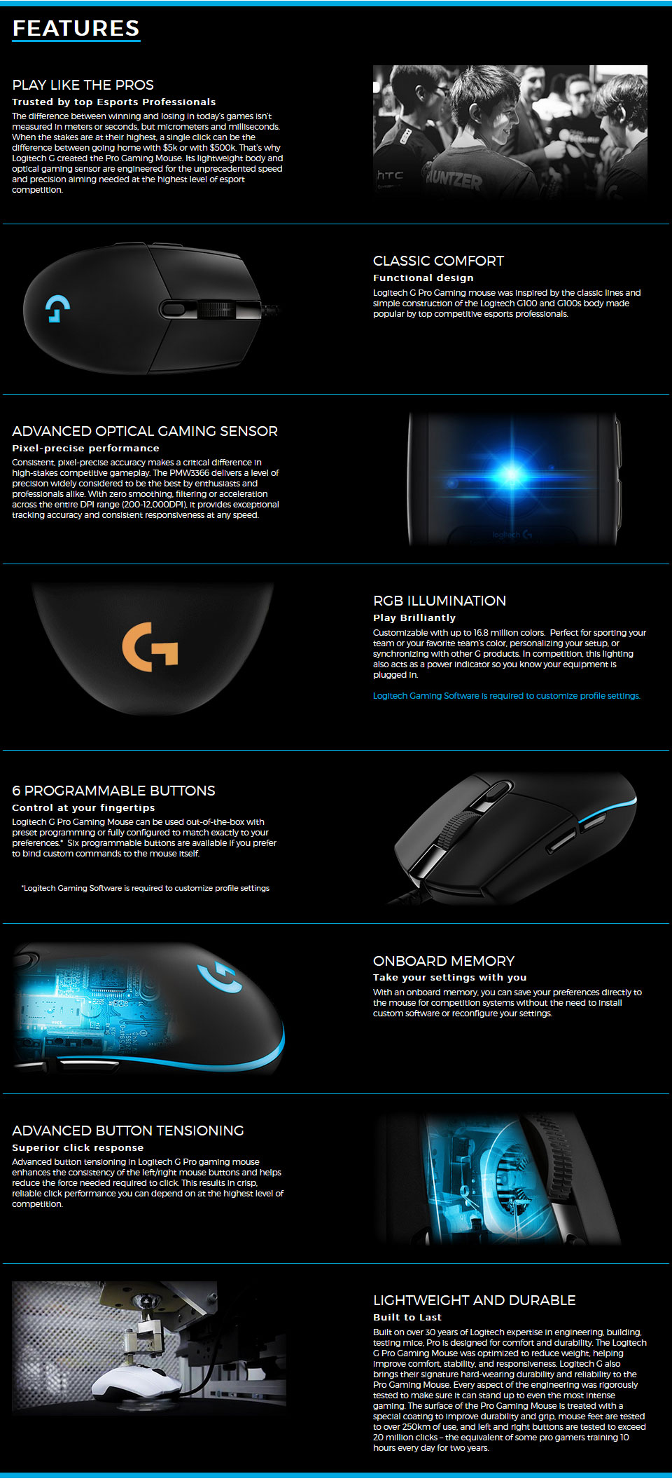 Logitech G Pro Gaming Mouse [910-005127] : PC Case Gear