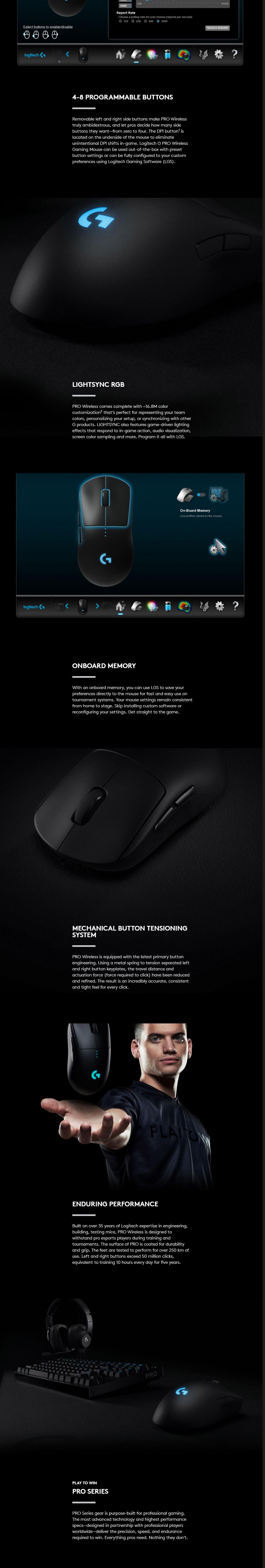 Logitech G Pro Wireless Gaming Mouse with 16K Hero Sensor