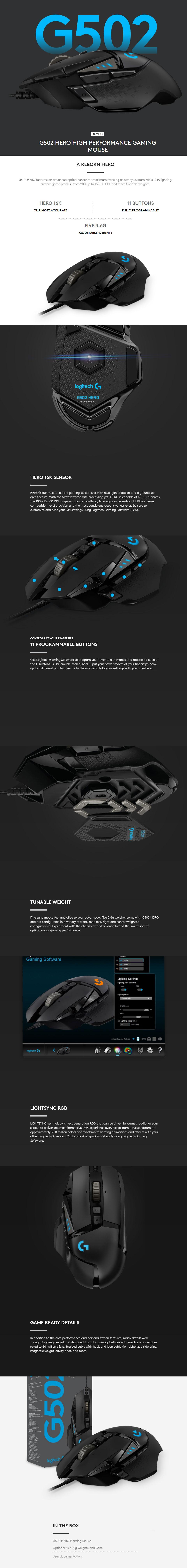 Logitech G502 Hero RGB Gaming Mouse with 16K Sensor