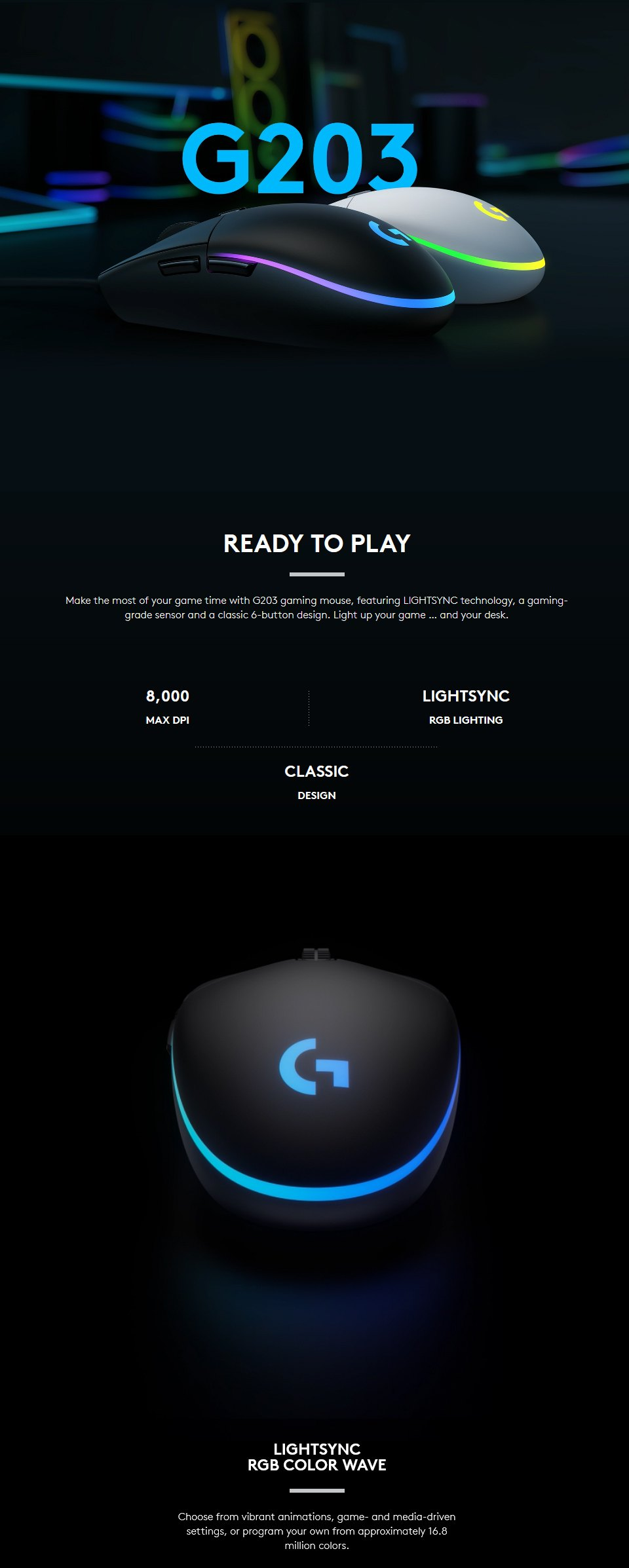 Logitech G203 Lightsync Gaming Mouse Black features