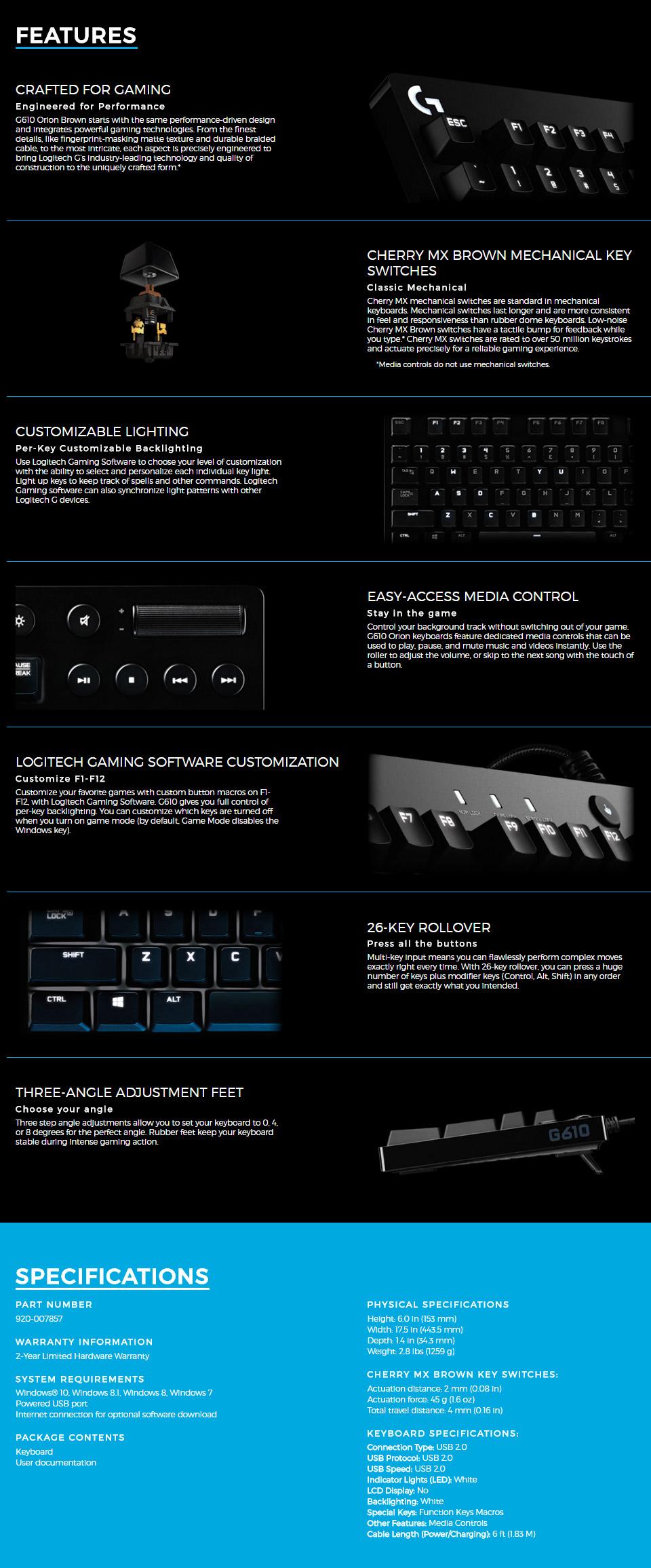 Logitech G610 Orion Backlit Mech Keyboard Cherry Brown [920