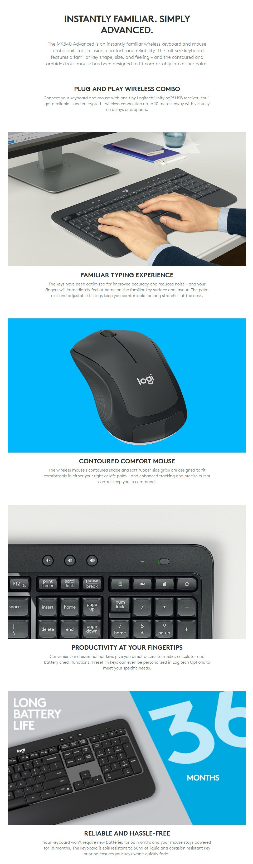 Logitech MK540 Advanced Wireless Keyboard and Mouse Combo features