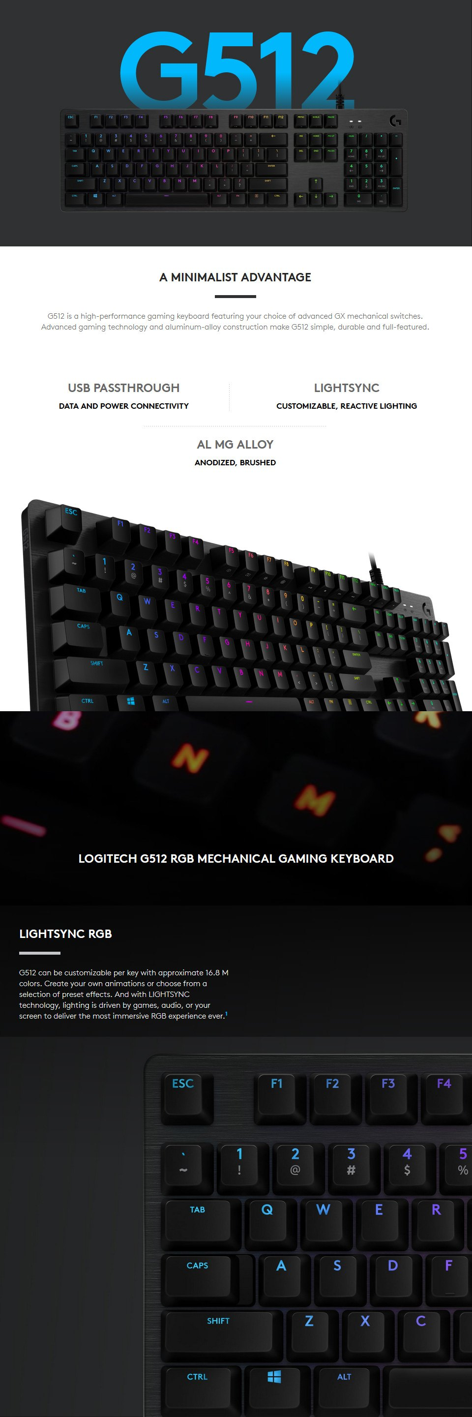 Logitech G512 Carbon RGB Mechanical Keyboard GX Brown features