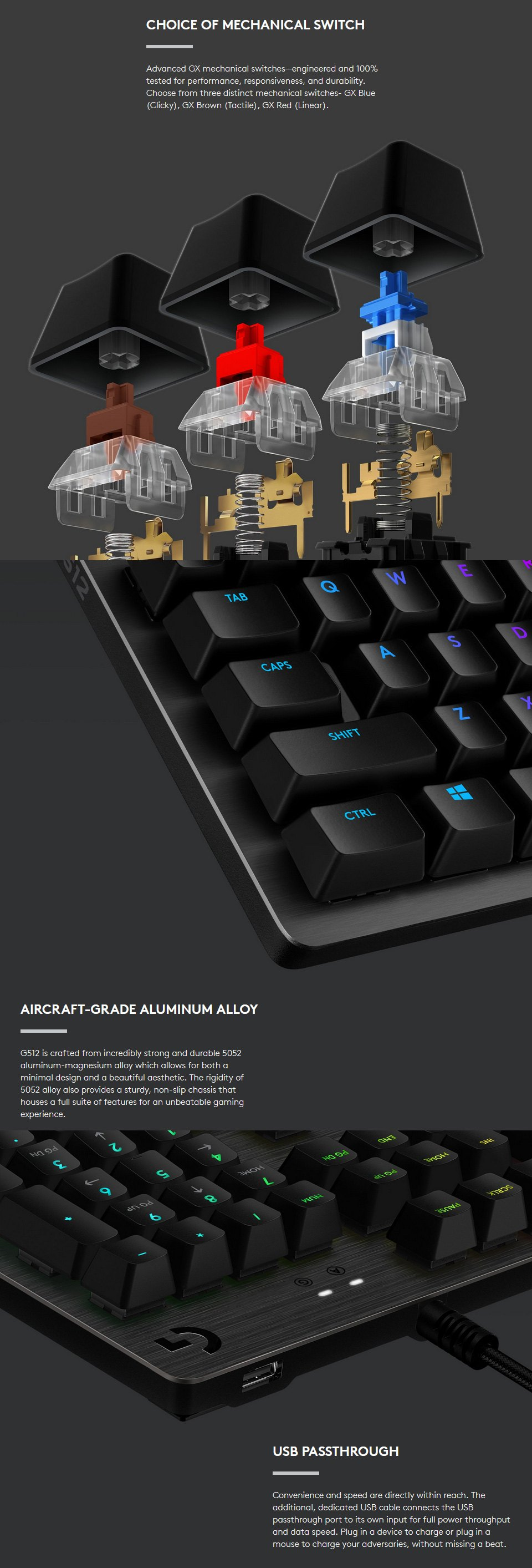Logitech G512 Carbon RGB Mechanical Keyboard GX Red features 2