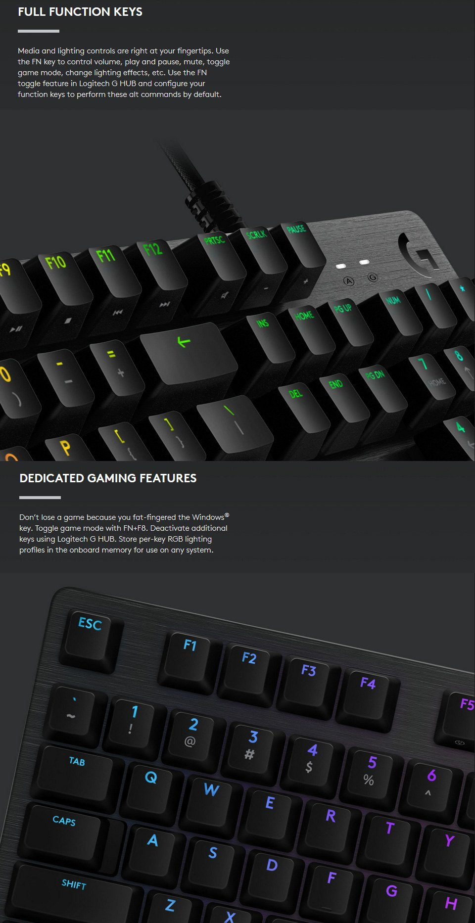 Logitech G512 Carbon RGB Mechanical Keyboard GX Red features 3