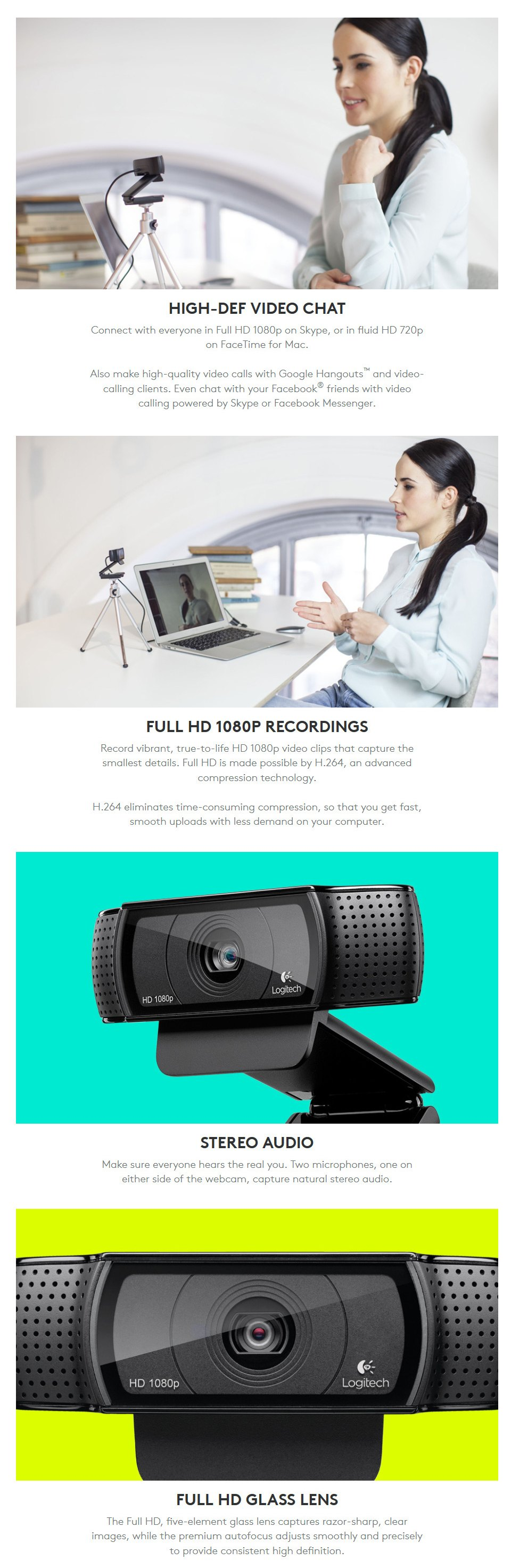 Logitech C920 HD Pro 1080P Webcam features