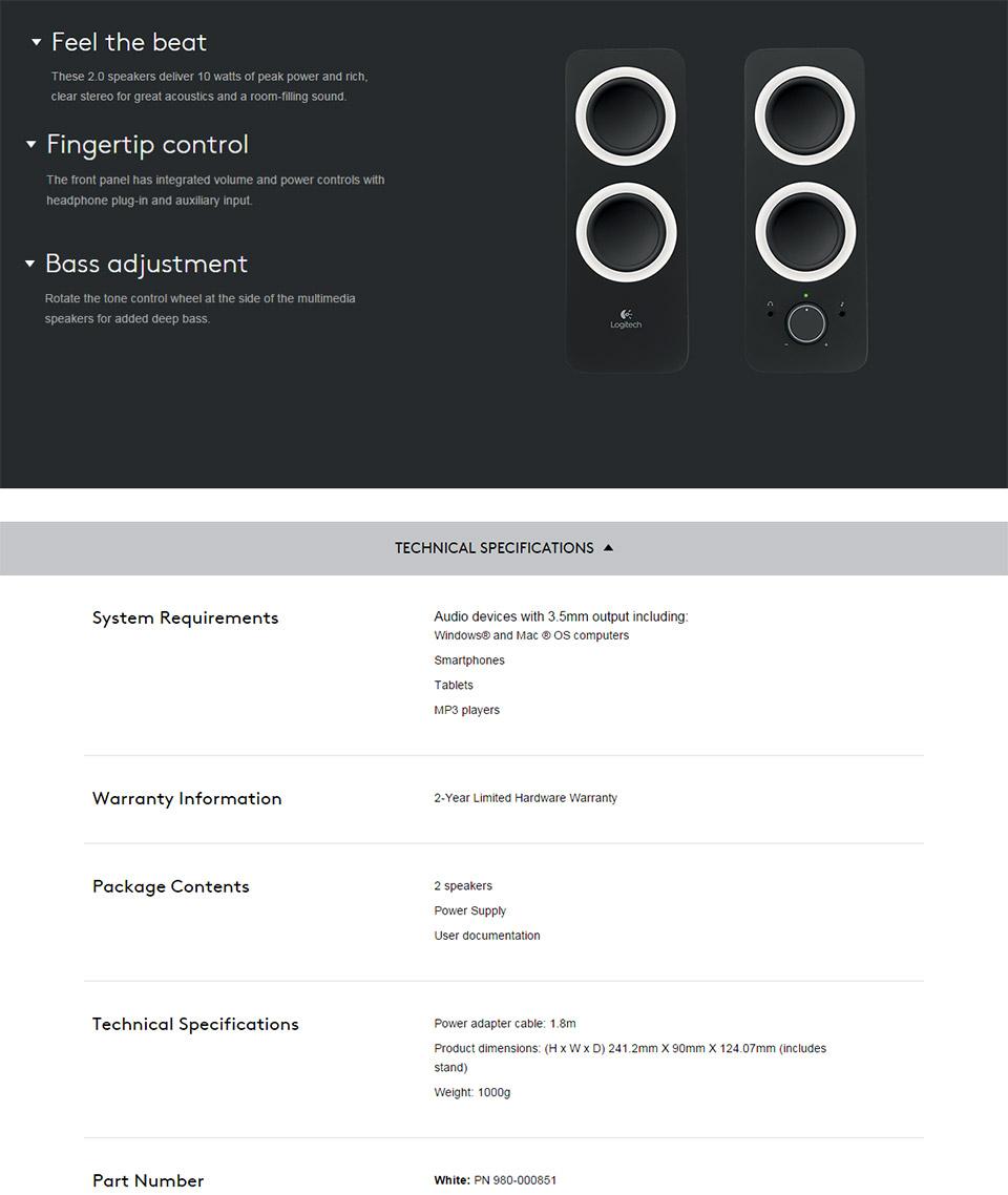 Logitech Z200 Multimedia Speakers Snow White [980-000851] : PC Case Gear