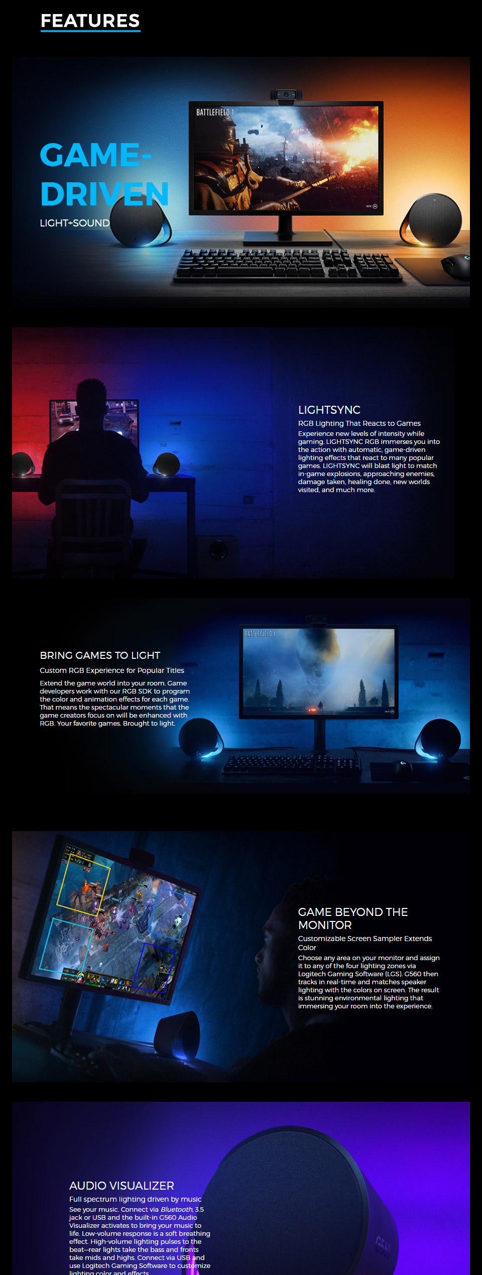 Logitech G560 Lightsync RGB 2 1 Bluetooth Gaming Speakers