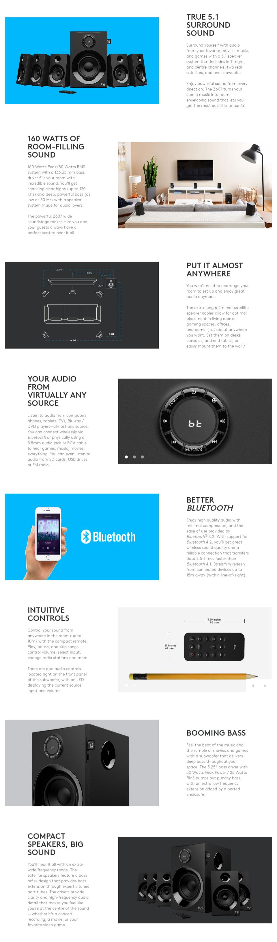 ba0f73a3a44 Logitech Z607 5.1 Surround Sound Speaker System with Bluetooth 980-001318